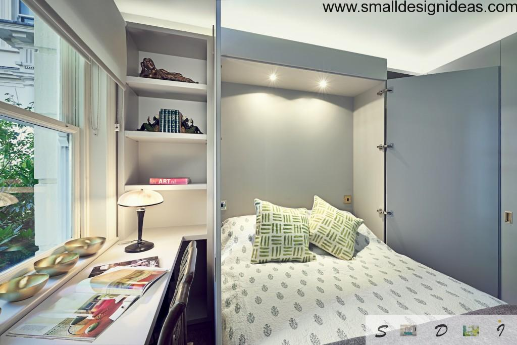 Bedroom with a bed-closet at the same time