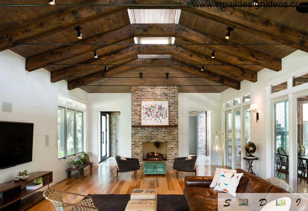 wooden beams as decor elements in the broad living room
