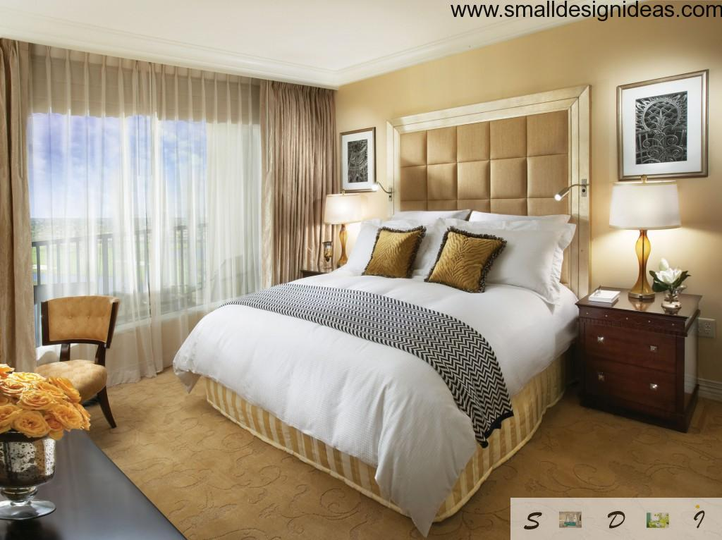 Pastel and gold tones for decoration of the bedroom