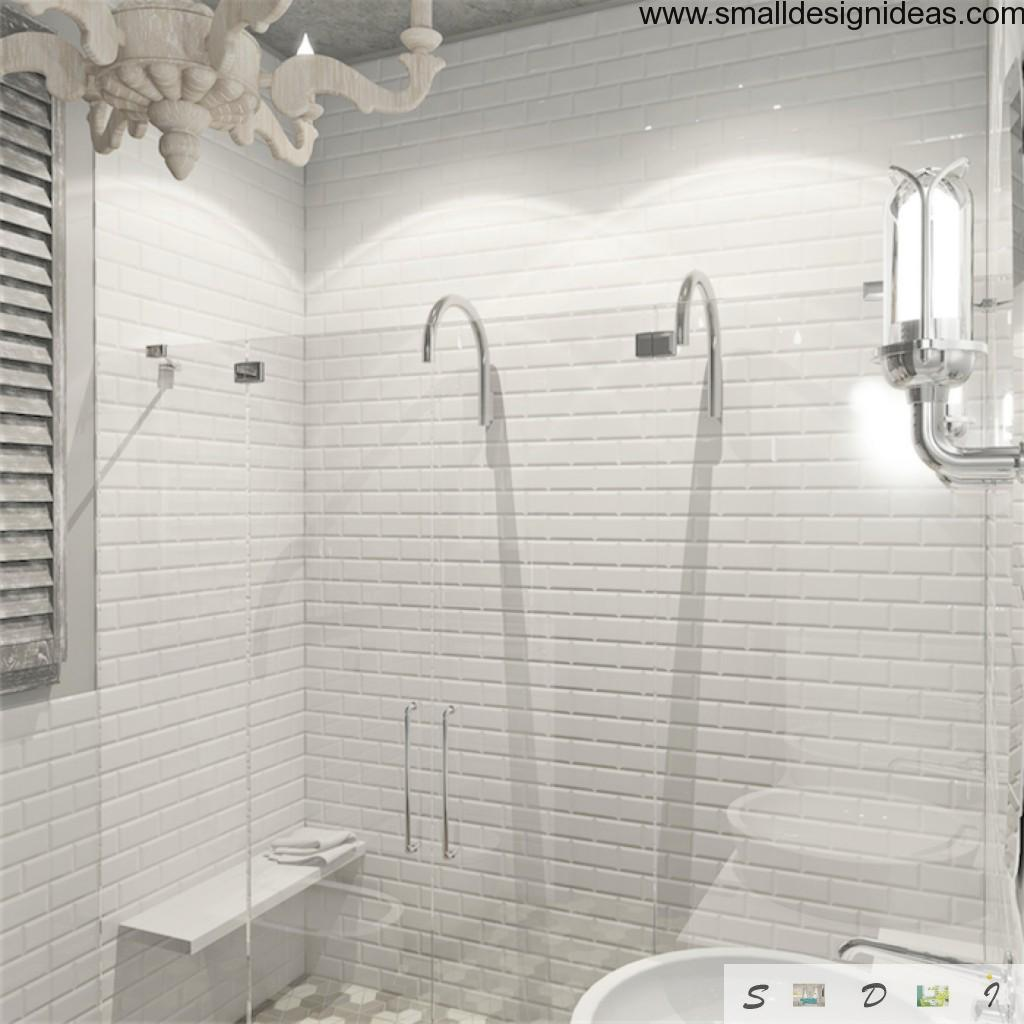 Snow white Loft bathroom with original forms of shower taps