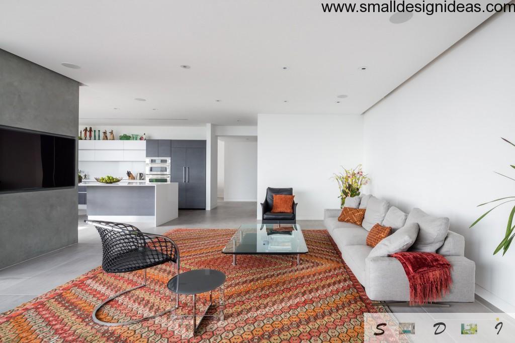 big Arabian textile carpet at the spacious living room