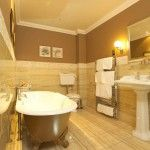 Modern creamy brown interior of the bath