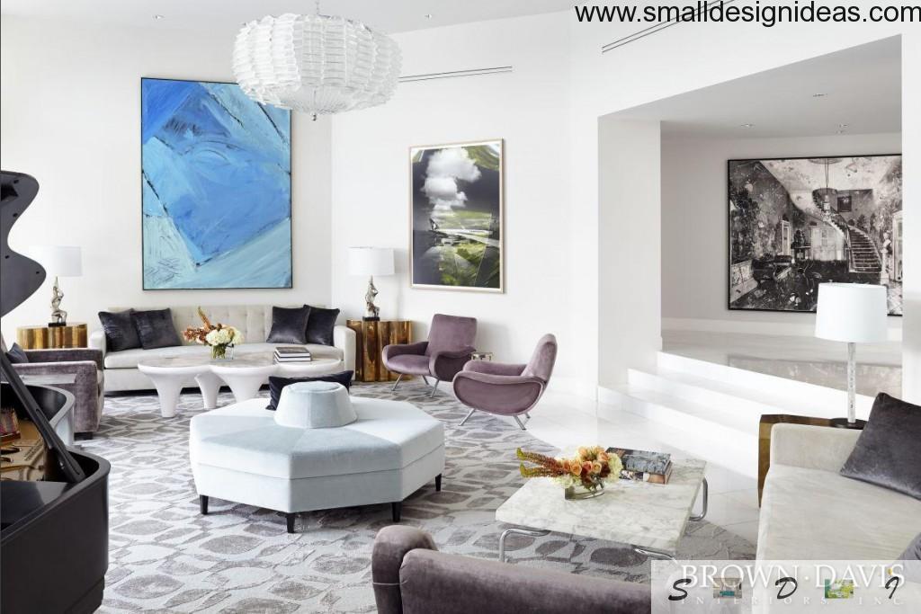 White Scandinavian interior of the living room
