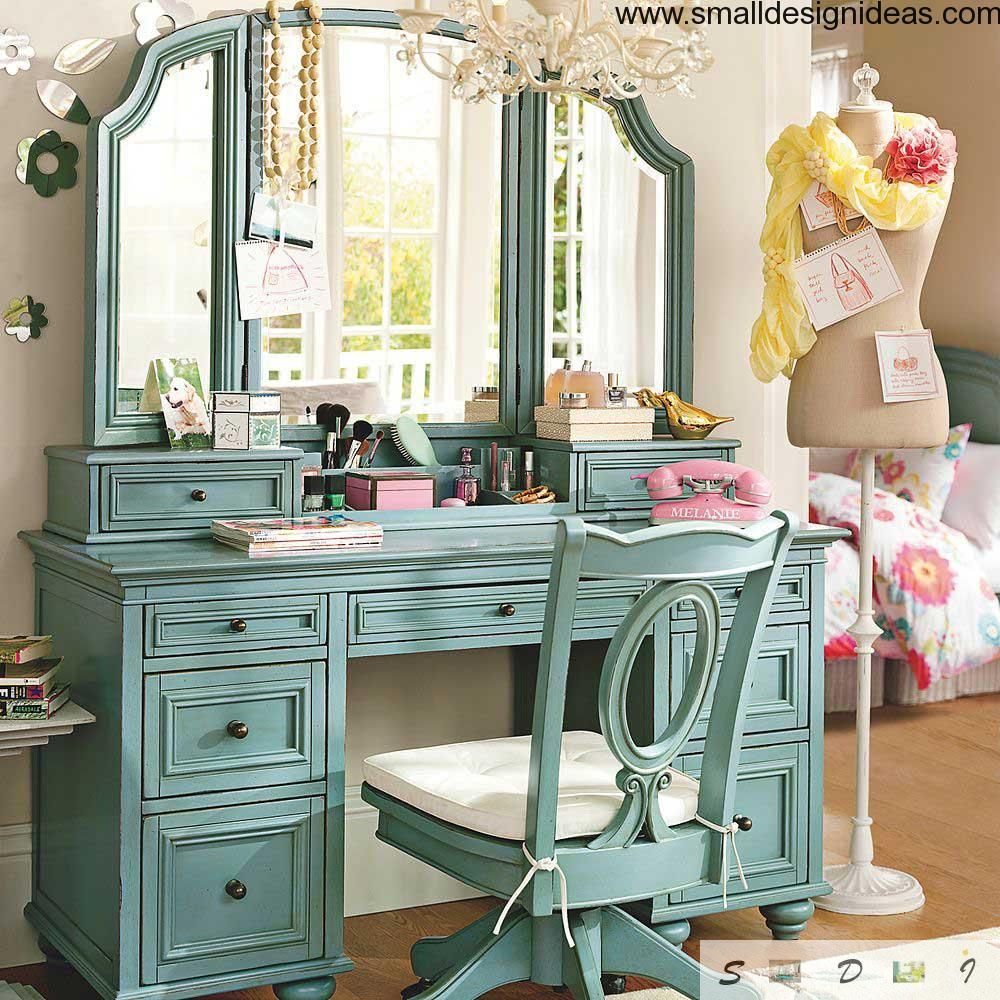 Vintage interior design with mirror set
