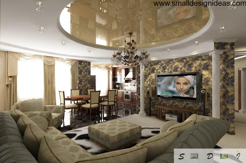 Ultracombined apartment in classic style with a lot of textiles. Uniform space of living room, dining room and the kitchen blends great