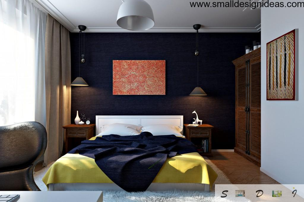 Contrasting dark design is the modern tend in decoration of small bedrooms