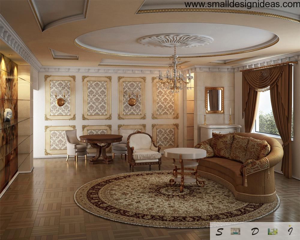 Living room in the classic style with a lot of handmade decorative elements (rugs, upholstery etc)