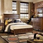 Wooden royal vintage interior of the bedroom
