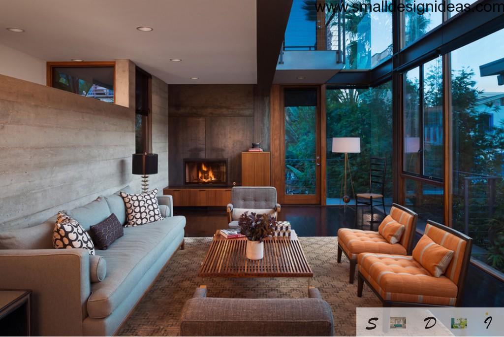 Georgeanna designer`s living room at semi-loggia house`s platform in unique execution