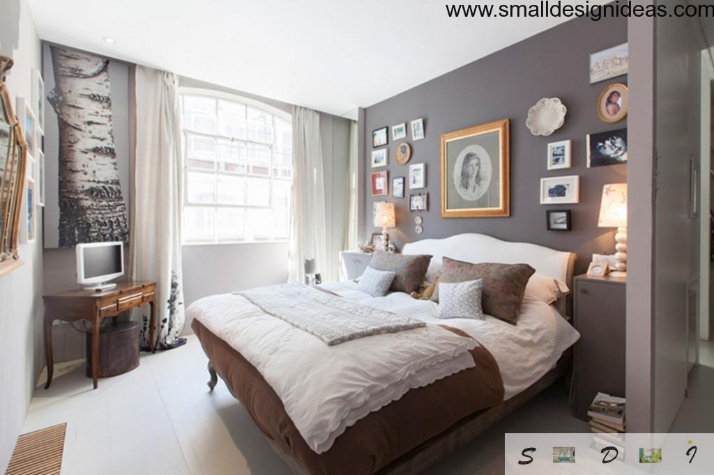 Gray bedroom with aesthetically selected decorations