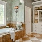 Bathroom with pastel colored marble trimming and chess floor in vintage style decoration