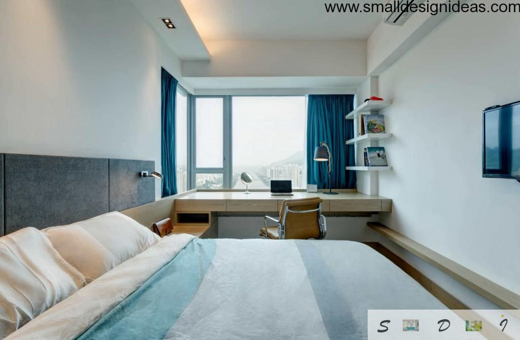 Bedroom sudy room design in Blue tomes
