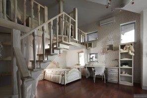 Children`s room interior in Provence style of two-storey apartment