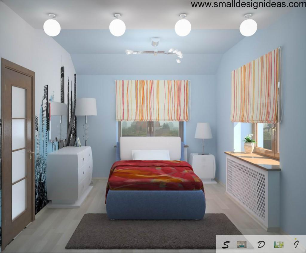 Blue color as a dominant in small bedroom with accent wall