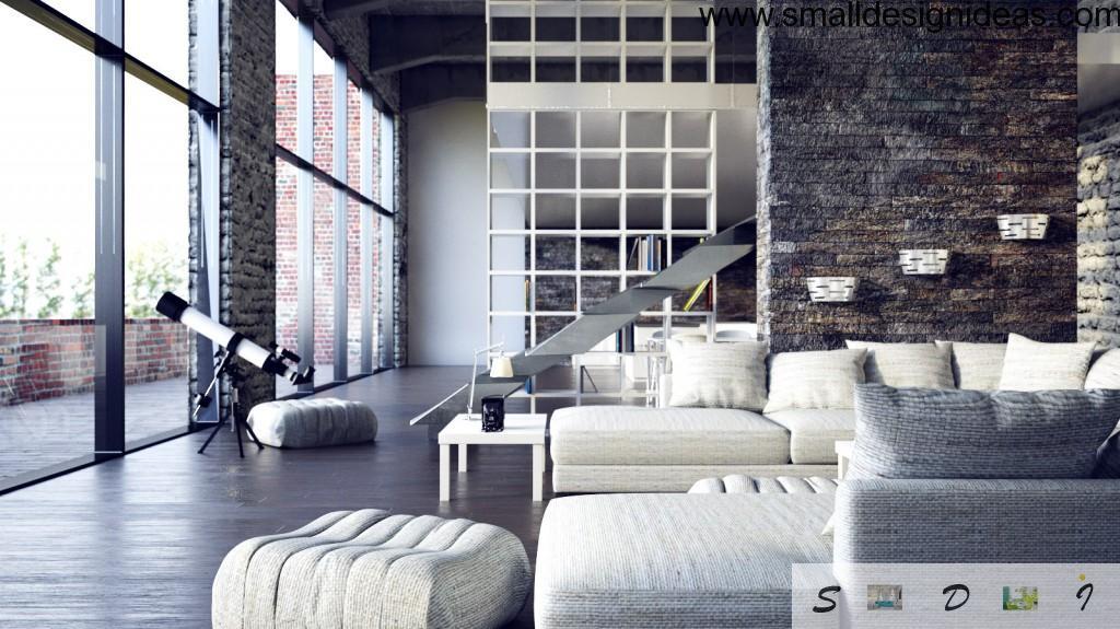 White Loft living room interior for romantic souls