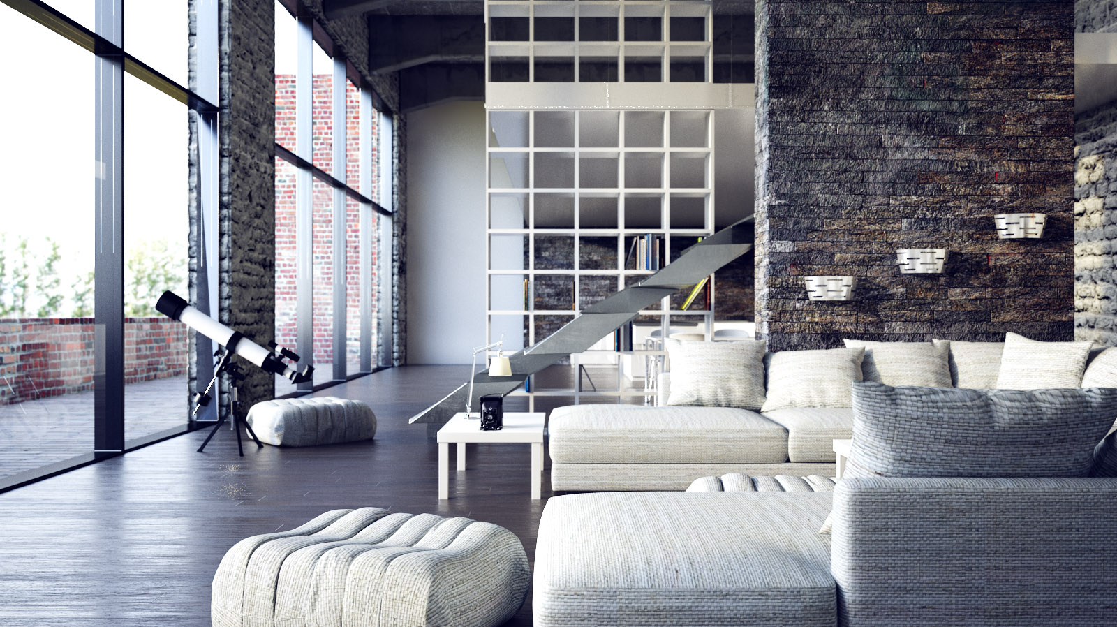 White Loft Living Room Interior For Romantic Souls