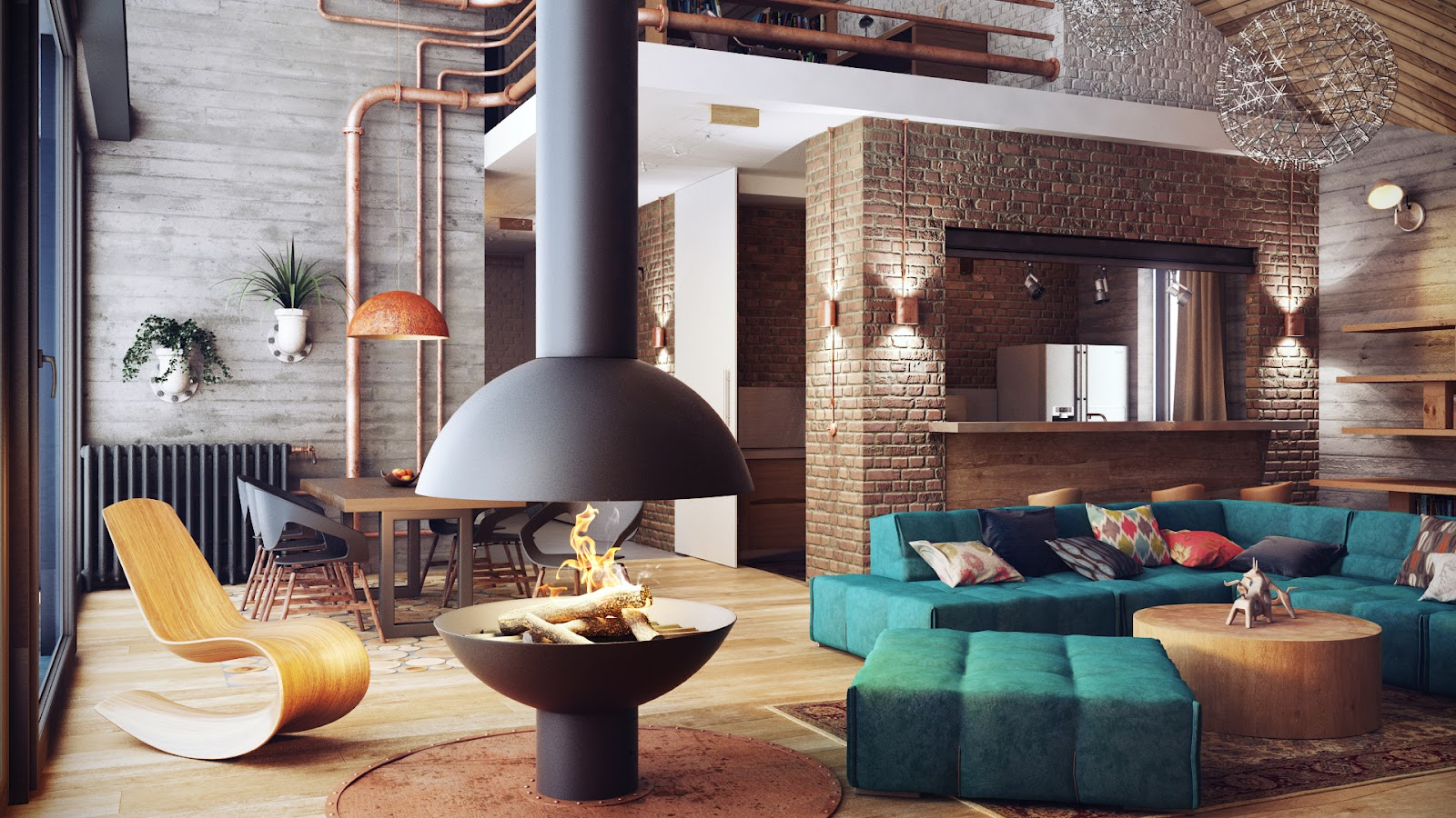 Loft Interior Of The Living Room With Original Safe Fireplace And Turquoise  Furniture ... Part 57