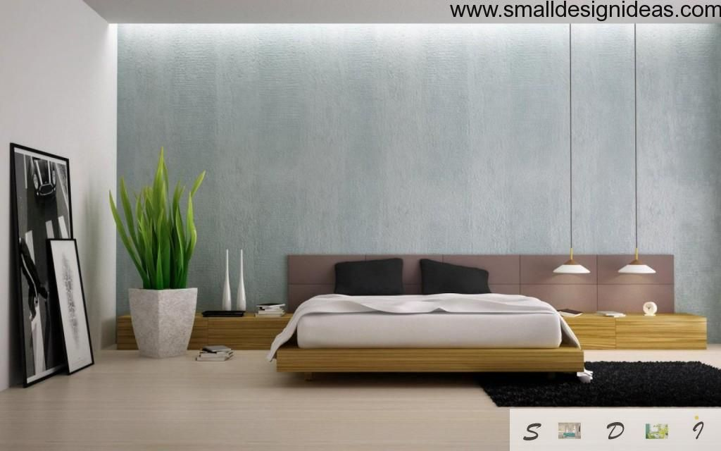 Minimalist bedroom with small amount of details and fresh flower decoration