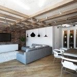 Wooden ceiling construction is tyoical exanple of using the Loft style
