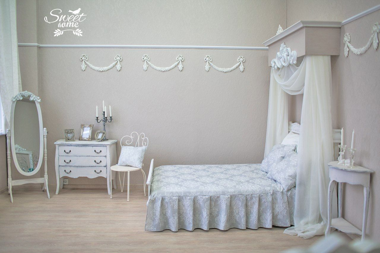 Light Painted Bedroom With Fretwork And Shawl At The Bedhead Modest Vintage Furniture