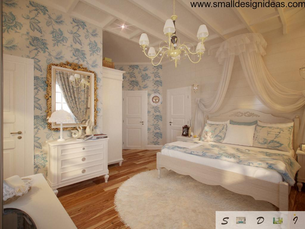 Nice wallpaper with floral pattern in the bedroom in Provence style