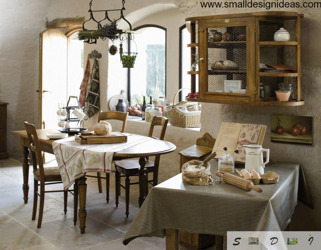 Nicely decorated kitchen zone in Provence traditions