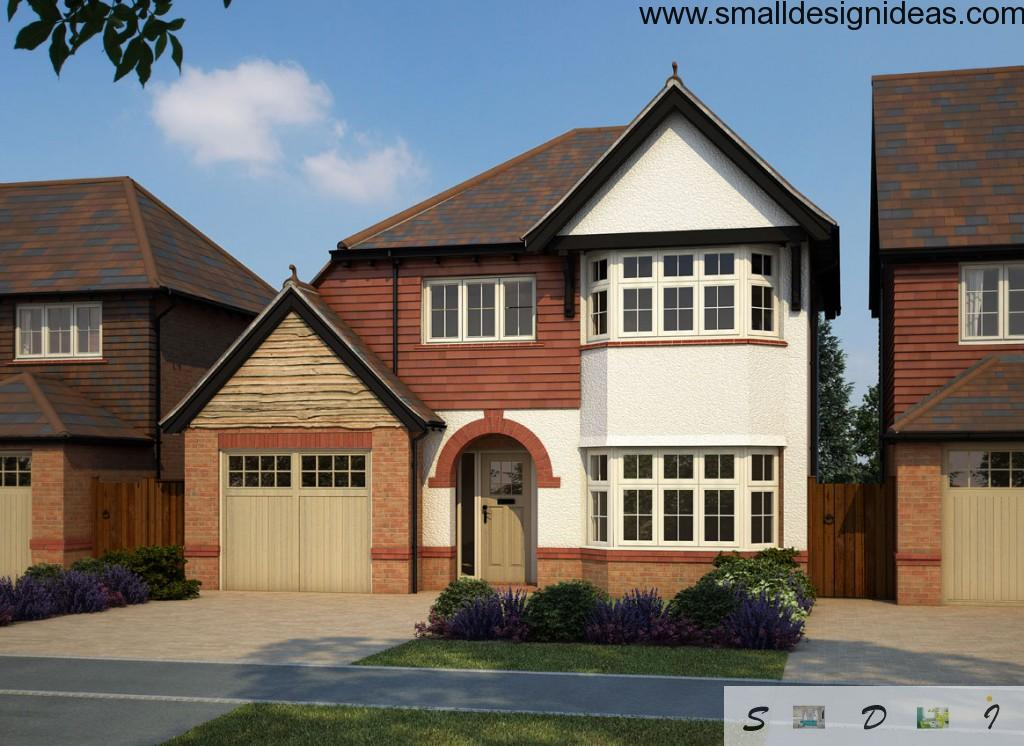 English Style Design for Country Houses with built-in garage near crossway