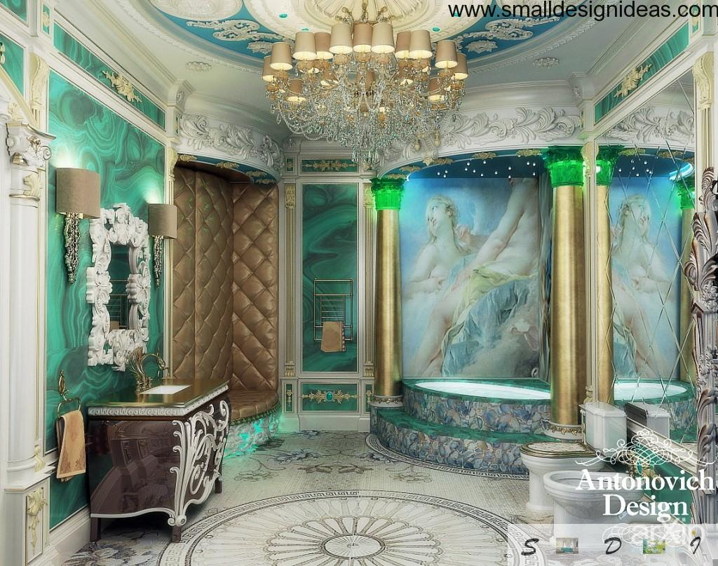 Unique emerald bathroom in Rococo style with columns, paintings and plastered ceiling with grandeur chandelier