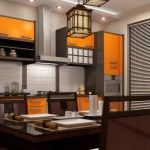 Kitchen in Japanese style with yellow wooden panels and bamboo napkins and Japanese traditional pottery
