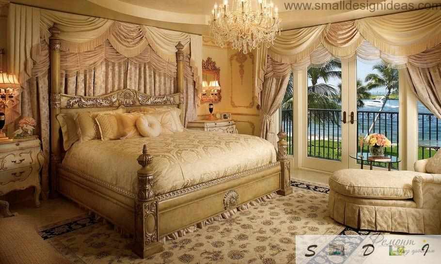 Elegant and exquisite design of the classic bedroom in the house with gilded decorative elements and the canopy