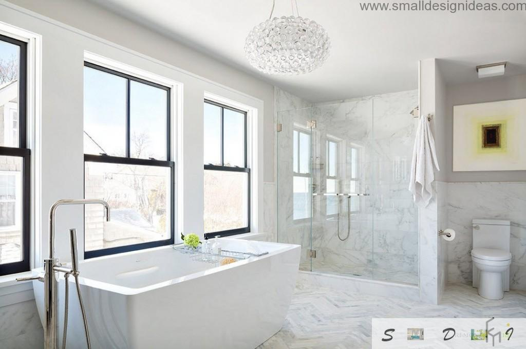 Marble white design of chic bathroom