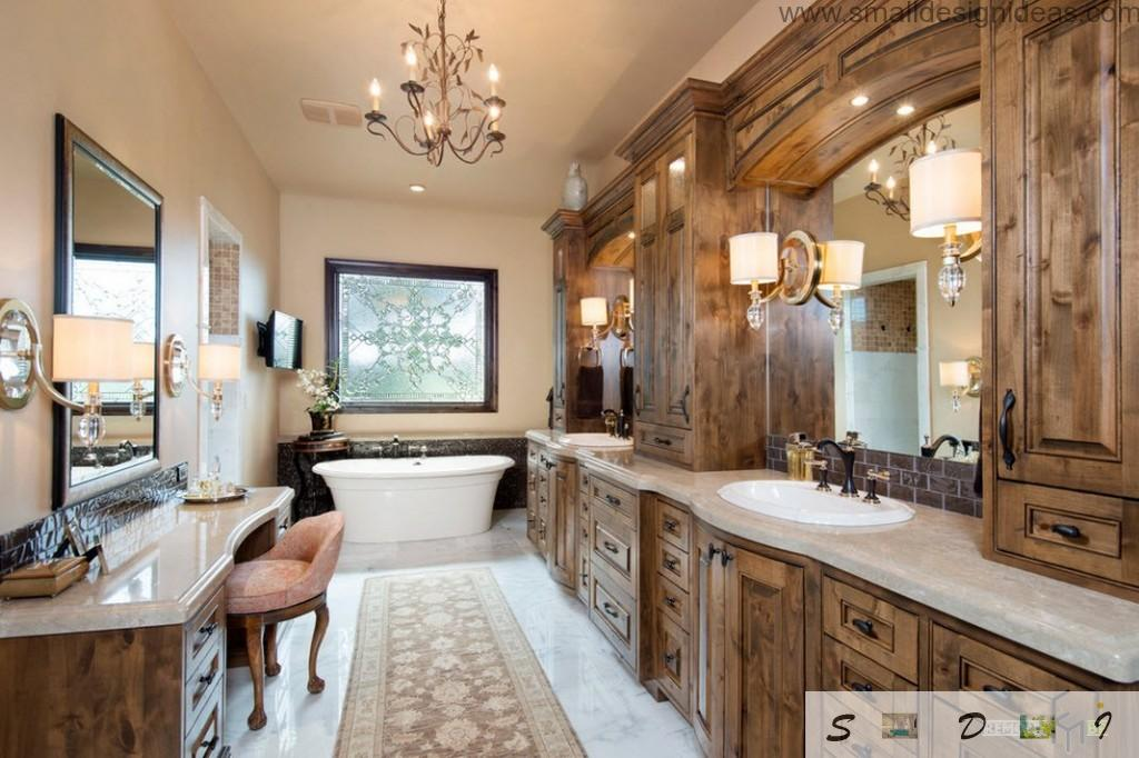 Unique wooden trimming all over the classic pastel bathroom interior