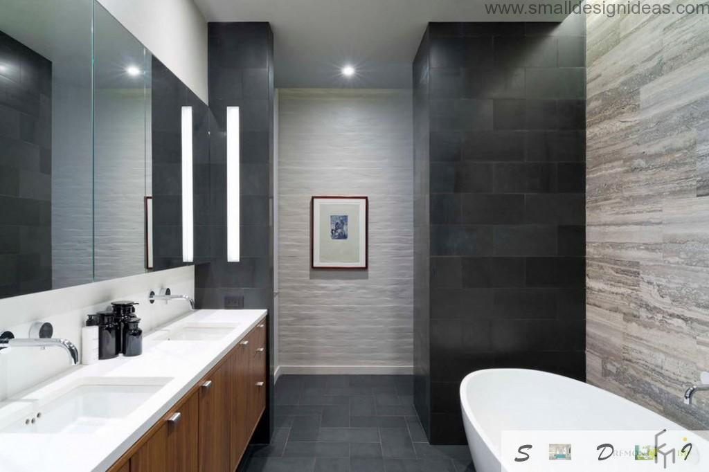 Black walls and contrasting elements in the bath