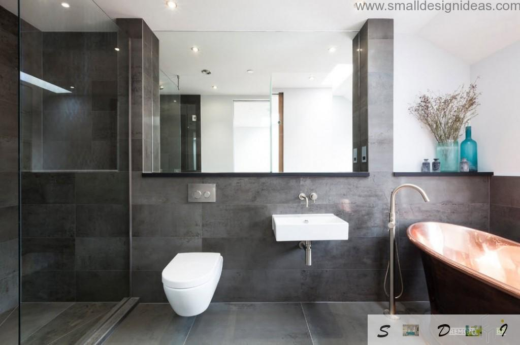 Different shades of gray to dilute the bathroom design ideas