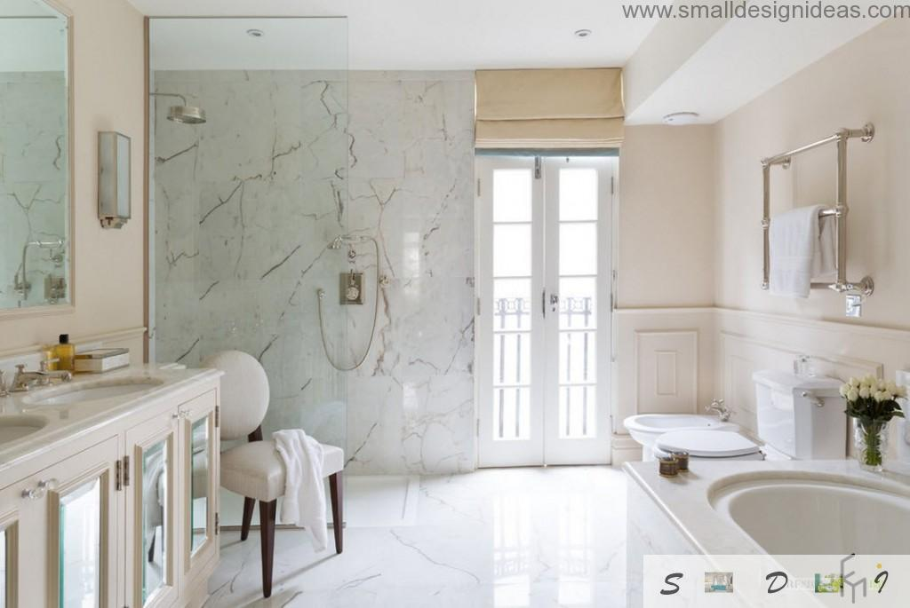 Narble trimmed bathroom in classic light style with French balcony and a soft upholstered chair