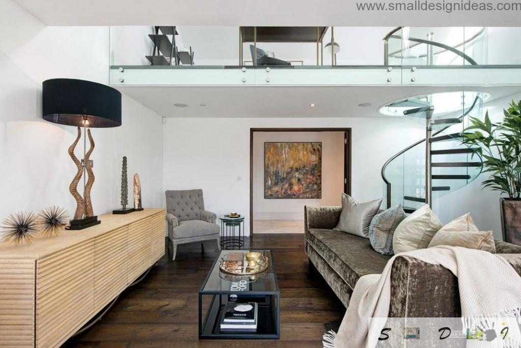Upholstere furniture in the dynamic modern living room interior