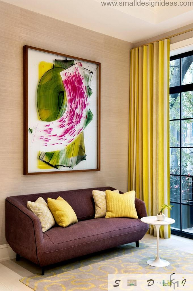 enjoyable yellow tones in the comfortable living room with a lot of textile