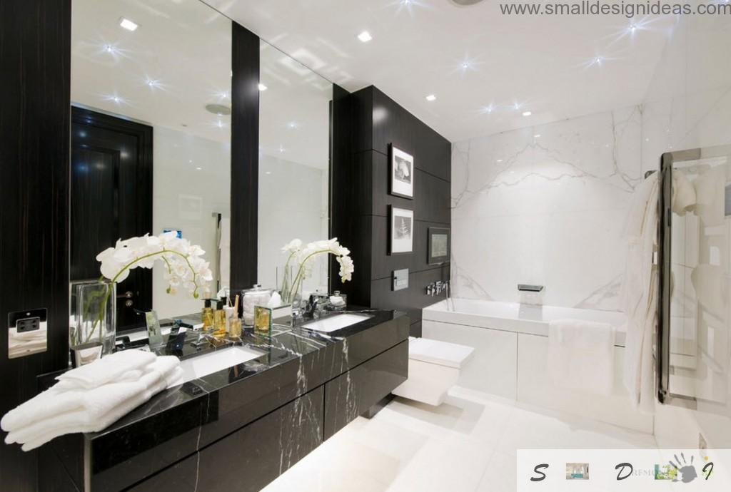 Imitating black noble marble trimming of the furniture in the white bathroom master ideas