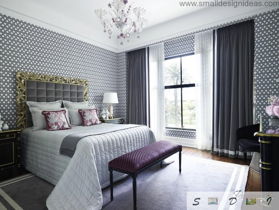 spacious bedroom with wide windows for the classic interior