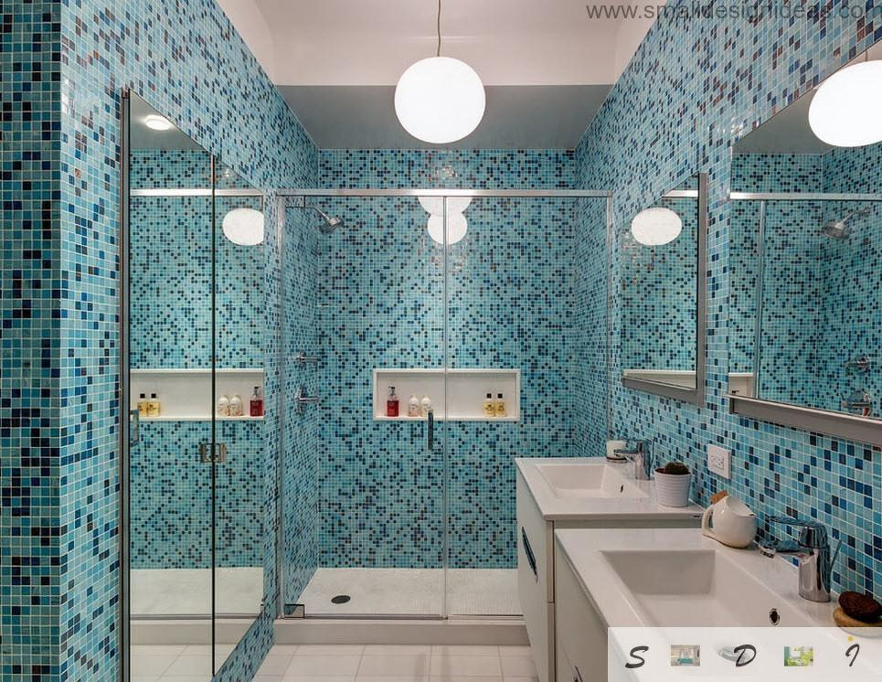 Marine mosaic theme in the bathroom