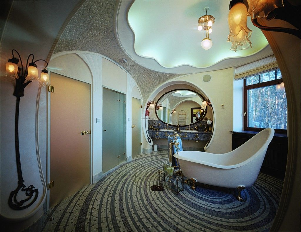 Unique futuristic bathroom in Art Nouveau
