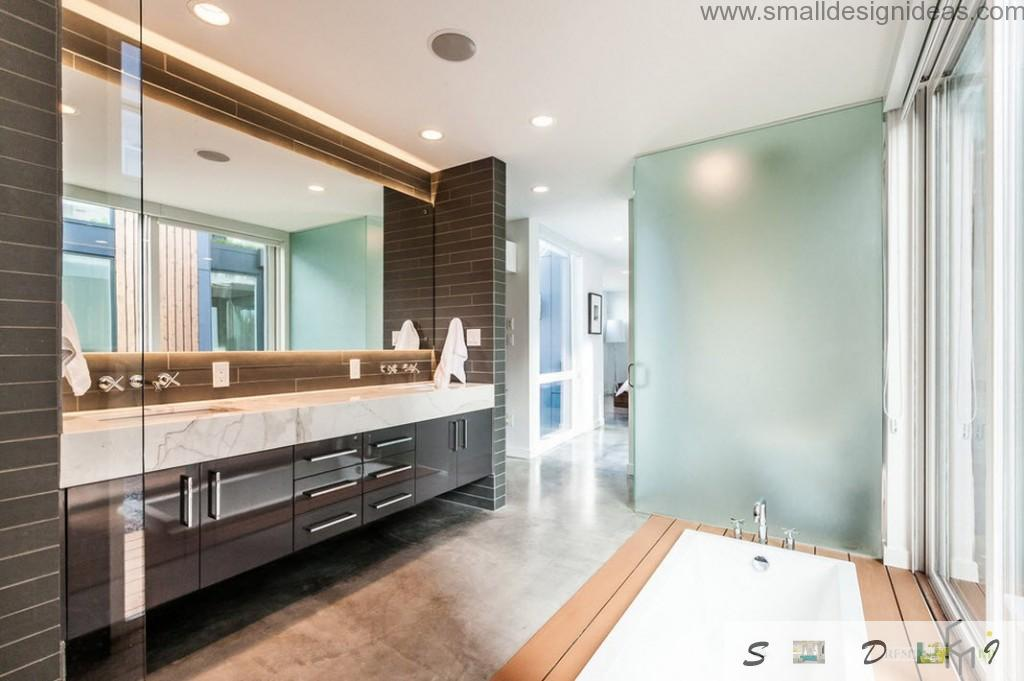 White colpr and contrsting wooden elements in the bathroom