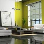 greenish yellow wall decoration paint, hieroglyphs and low furniture as the elements of Japanese interior decoration