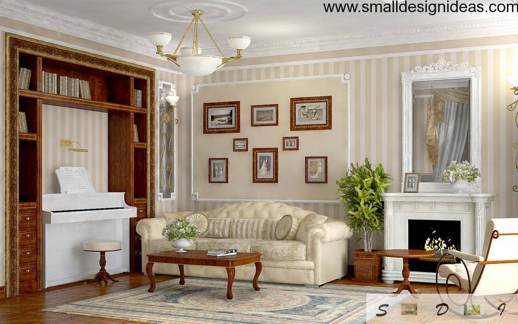 """""""French salon"""" designer`s Empire living room in the apartment with elements of art-deco"""