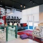 Fusion of the styles means bright modern furniture, hi-tech materials and bold color colutions