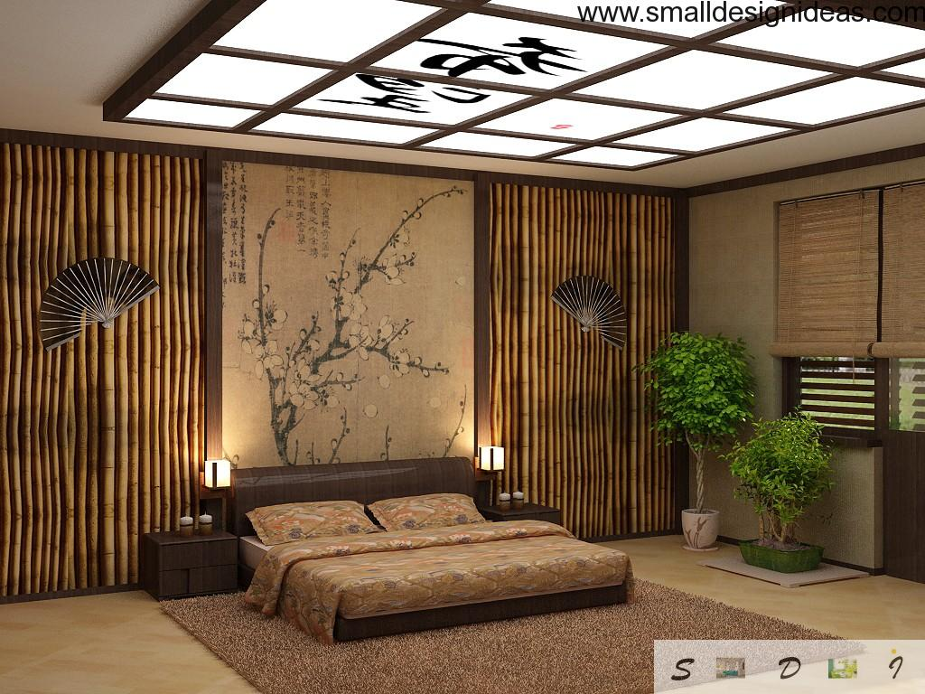 Discreet decoration of the bedroom in the classic Japanese style