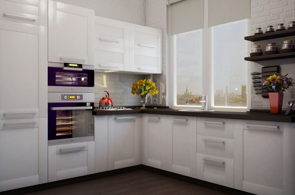 Great idea for small kitchen design with dark contrasting working surfaces and multifunctional windowsill