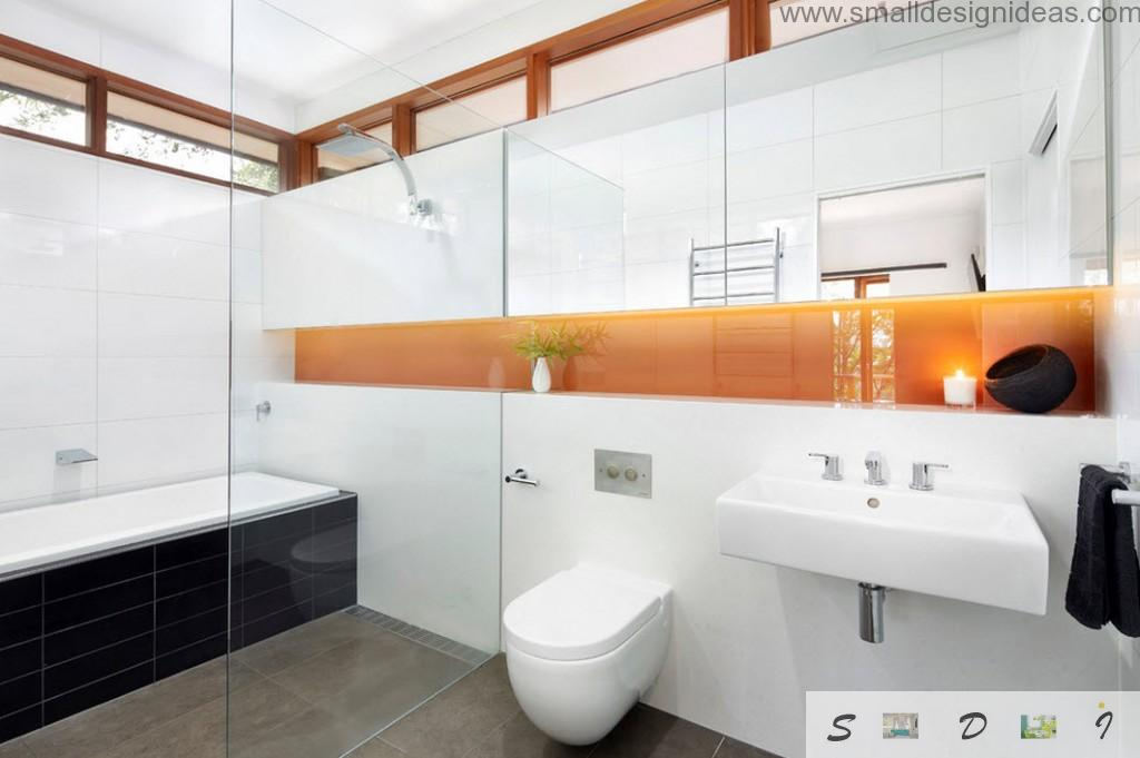 Unique panel to distinguish the white decoration of the bathroom design