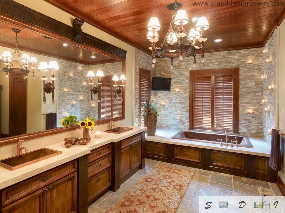 Wooden heaven in the bathroom with plenty of light