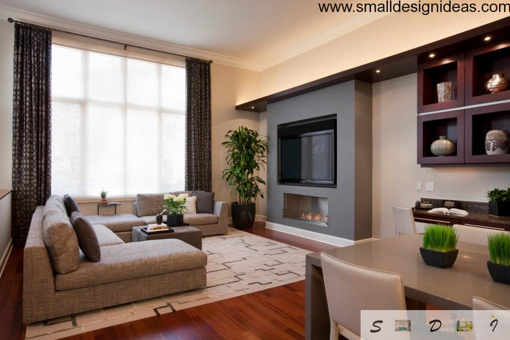 Natural environment of the living room with peculiar wall construction